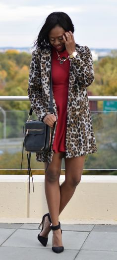 leopard print coat + a red mini dress -- a classic holiday ensemble!