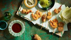 Deep-fried skewers with dipping sauce (kushi katsu) | Kushi katsu is so popular in Osaka that the locals will line up for over an hour to get a seat. For this recipe, all manner of ingredients are skewered, crumbed and fried, and served with a communal dipping sauce. Double-dipping is frowned upon – instead use the cabbage like a spoon to ferry extra sauce to your fried skewer.
