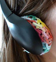 Crocheted / croche rainbow headset earmuff replacements. / Six ribbons.