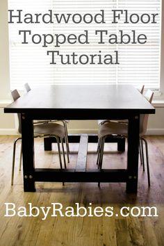kitchens, leftover hardwood flooring, kitchen tables, tabl tutori, hardwood floor tables, diy idea, top tabl, diy tabl, crafti idea