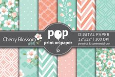 Cherry Blossom Mint & Peach by POP print on paper on Creative Market