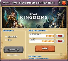 Rival Kingdoms Age Of Ruin Hack v5.3 is create to hackgames4you.com , makes it possible that you can basically receive an unlimited number of free Diamonds and Gold with regard to Rival Kingdoms Age of Ruin within somewhat amount of time and minimal effort at most.