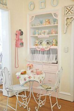 Sweetness!!! Even the pink phone. Looks like a lovely place to sit and think for a spell.