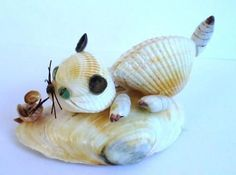 Arts And Crafts With Beads Seashell Ornaments, Seashell Art, Seashell Crafts, Beach Crafts, Summer Crafts, Snowman Ornaments, Cat Crafts, Animal Crafts, Hobbies And Crafts