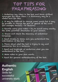 Nine top tips for paraphrasing - a poster for your classroom wall.