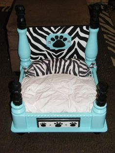Boutique pet bed I made from an end table