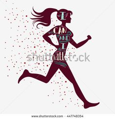 Sport/Fitness typographic  poster. Running girl. I can and I will. Motivational and inspirational illustration. Lettering. For logo, T-shirt design,  bodybuilding or fitness club.