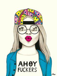 AHOY #madhueys #art #drawing #beach #sunglasses #backwardscap #ahoyfuckers #ahoy #swag