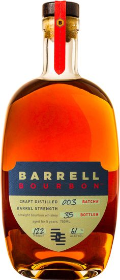 Barrell Bourbon Batch #003 5 Year Old Straight Bourbon #Whiskey.  Aged for a minimum of five years and bottled at a robust 122 proof, this #bourbon earned a score of 94 points, tying Pappy Van Winkle's 15 Year Old Bourbon, at the Ultimate Spirits Challenge in 2014. | @Caskers