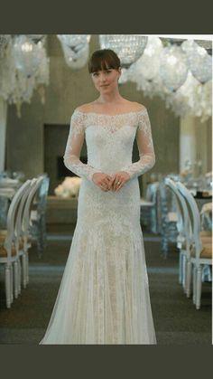 50 Shades Of Grey Anastasia Steele Wedding Dress Lace Vintage Replica Movie Wedding Dresses, Wedding Movies, Bridal Dresses, Wedding Gowns, Anastasia Steele Outfits, Anastasia Grey, Fifty Shades Movie, Fifty Shades Of Grey, 50 Shades