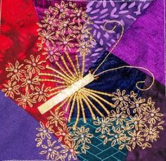 Crazy Quilting International : Daisy stitched butterfly