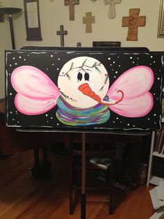 Snow angel for paint party. 12x24 canvas