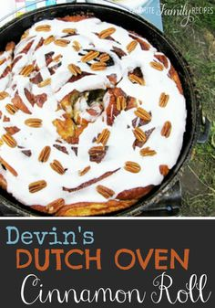 Your cast iron pan helps create scrumptious cinnamon rolls on any campsite. Find more delicious dessert recipes at https://simplycreate.com.