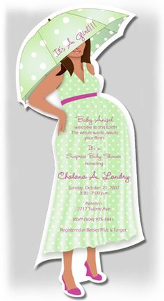 Mix & Match Expecting Mod Mom Baby Shower Invitation Baby Boy, Girl or Twins Green Polka Dots