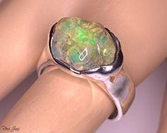 Opal Edelstein, Ethiopian Opal Ring, Ring Der O, Natural Opal, Welo Opal, Opal Jewelry, Gemstone Rings, Silver Rings, Turquoise