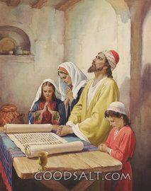 Hebreo familia en la oración