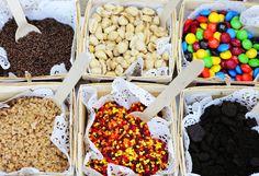 caramel apple station toppings - fall party   Kara's Party IdeasKara's Party Ideas