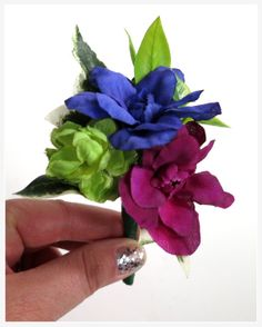 Faux Wedding Boutonniere - Anniversary Boutonniere - Prom Boutonniere - Father's Day Boutonniere - Fuchsia/Royal Blue/Lime Green