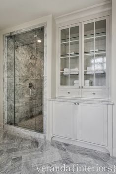 Veranda Interiors - bathrooms - walk in shower, large shower, gray and white marble, gray and...