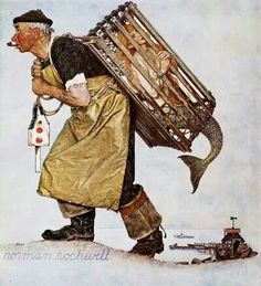 Norman Rockwell illustration of a man carrying a mermaid in a lobster trap. For this 1955 cover illustration Rockwell skipped his usual practice of asking locals to pose for him. Instead he went to New York and hired a professional model. Peintures Norman Rockwell, Norman Rockwell Art, Norman Rockwell Paintings, Illustrations, Illustration Art, Canvas Wall Art, Canvas Prints, Canvas Canvas, Canvas Fabric
