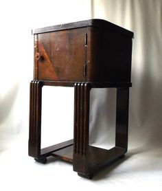ART DECO Wooden Cigar Humidor Smoking Night Stand   COPPER LINED   Donald Deskey