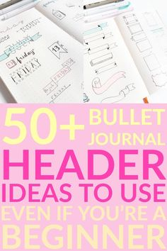 If you want to spruce up your bullet journal, start with your headers. Here you can find bullet journal header ideas including titles, dates, and banners. Bullet Journal Fonts, Bullet Journal Headers, Bullet Journal Monthly Spread, Bullet Journal How To Start A, Bullet Journals, Daily Journal, Journal Prompts, Journal Ideas, Organization Bullet Journal