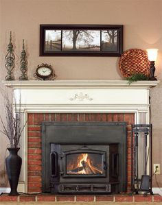Brick hearth with mantle