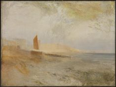 Joseph Mallord William Turner, 'Brighton Beach, with the Chain Pier in the Distance, from the West' circa 1827, 1843