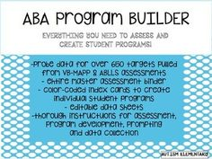 This resource contains everything you need to build an ABA program within your classroom! Included you will find over 640 probes (with data sheets) pulled directly from the VB-MAPP AND ABLLS assessments, master assessment binder with picture cards (a HUGE money and time saver), color-coded picture cards based on skill, editable data sheets, implementation guide and tips/tricks for making a successful program.