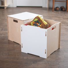 Stackable Wooden Storage Boxes With Lids Plywood Storage, Fabric Storage Boxes, Storage Boxes With Lids, Wooden Storage Boxes, Fabric Boxes, Crate Storage, Decorative Storage, Wood Boxes, Book Storage