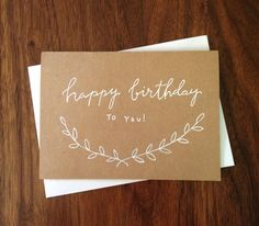 Hand Lettered Happy Birthday Card - modern calligraphy | wreath | branches | twig | rustic | hand lettered birthday card