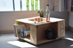 Table basse en caisses de vin GRAND CRU