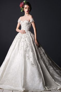 rami al ali bridal 2015 off shoulder short sleeve ball gown wedding dress applique