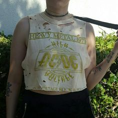 Bleached AC/DC shirt DIY cropped and cut shirt. Holes and bleach washed to give it a cool vintage rocker grunge vibe. Super rare and unique! Tops