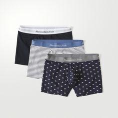 Abercrombie & Fitch 3-Pack Boxer Brief (88 BRL) via Polyvore featuring men's fashion, men's clothing, men's underwear e med grey pattern