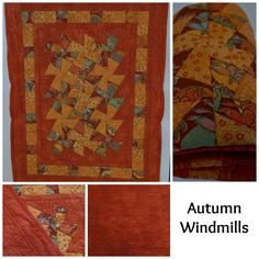 Autumn Windmills-small quilt perfect for a baby's pram or cradle