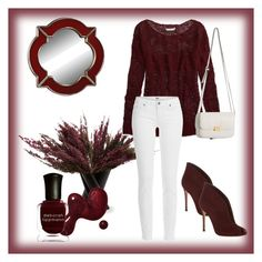 """""""Classy Burgundy"""" by chanlee-luv ❤ liked on Polyvore featuring fferrone design, American Eagle Outfitters, Paige Denim, Gianvito Rossi and Deborah Lippmann"""