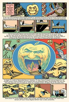 In one of the most unusual graphic novels of recent times, R. Sikoryak has taken the complete text of Apple's iTunes Terms and Conditions and turned it into a comic book - page inspired by Winsor McCay, Little Nemo in Slumberland, New York Herald Company, December 3, 1905