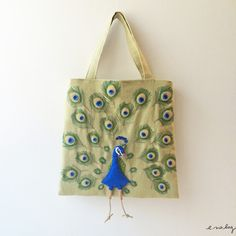 "Peacock felt applique and embroidery mini bag by e.no.bag ""クジャク ノ バッグ "" #peacock…"