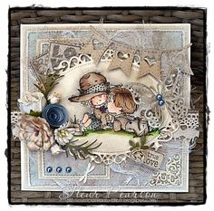Photo: True Love by DT Fleur Pearson - Fleur coloured a LOTV image and added Kort & Godt Dusky Blue Rolled Roses, Mixed Dahlia - Barley Suga. Pretty Cards, Cute Cards, Kids Cards, Baby Cards, Scrapbook Paper Crafts, Scrapbook Cards, Tag Craft, Whimsy Stamps, Beautiful Handmade Cards