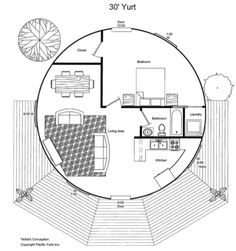 Sample possible floor plan for the largest Pacfic Yurt yurt