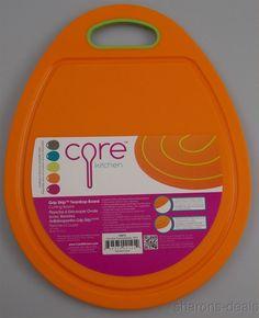Core Kitchen Grip Strip Orange Green Teardrop Cutting Board Juice Groove Handle #CoreKitchen