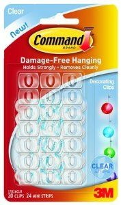 6PK 3M 17026CLR Command Adhsv Deco Clip Clr 20Pk by 3M. $49.30. 6PK 3M 17026CLR Command Adhsv Deco Clip Clr 20PkMake seasonal decorating a snap. Accent windows and other areas with lights and decorations. Remove and reuse with replacement adhesive strips without damaging surfaces. 20 clips and 24 strips per pack. Size: Small. Color: Clear.