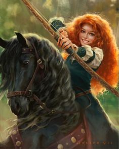 Brave- Merida with her bow and arrow and riding on her black horse