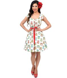 UniqueVintage Multicolor & Cream Owls Fit N Flare Dress