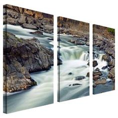 """3-Piece gallery-wrapped canvas triptych depicting a mountain stream.  Product: 3-Piece wall artConstruction Material: CanvasFeatures: Made in the USADimensions: 24"""" H x 12"""" W each"""