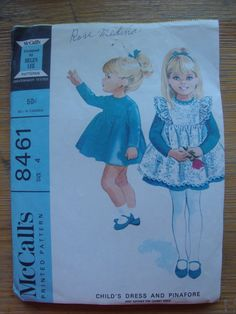 vintage 1966 mccalls childs DRESS pinafore sewing pattern size 4 HELEN LEE design high waist long sleeves gathered skirt. $11.00, via Etsy.
