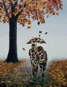 Herfst - kunstzinnig plaatje  Words are the leaves of the tree of language ~ John O'Donohue