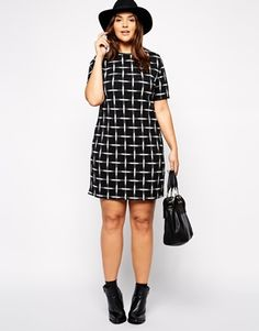 New Look Inspire Plus Size Mono Check Tunic Dress...Simply chic in every way.