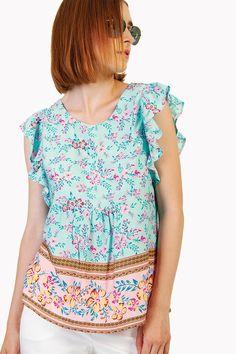 Shop NOW online... Floral Blouse, Floral Tops, Floral Prints, Summer Wardrobe, Body Measurements, Soft Fabrics, Shop Now, Model, How To Wear